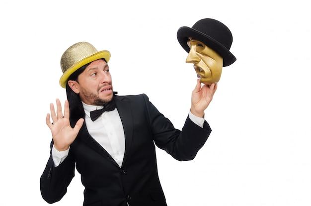 Mens met theatermasker op wit wordt geïsoleerd dat