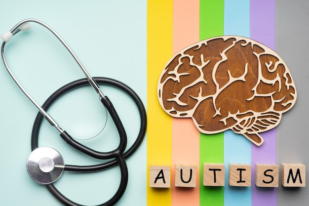 Menselijk brein met een stethoscoop met de inscriptie autisme