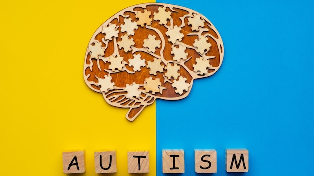 Menselijk brein met verspreide puzzelstukjes. zes kubussen met de inscriptie autisme.