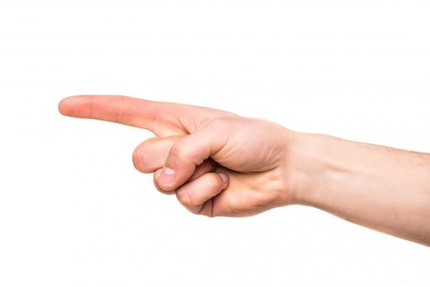 Menselijk die handpunt met vinger op wit wordt geïsoleerd.