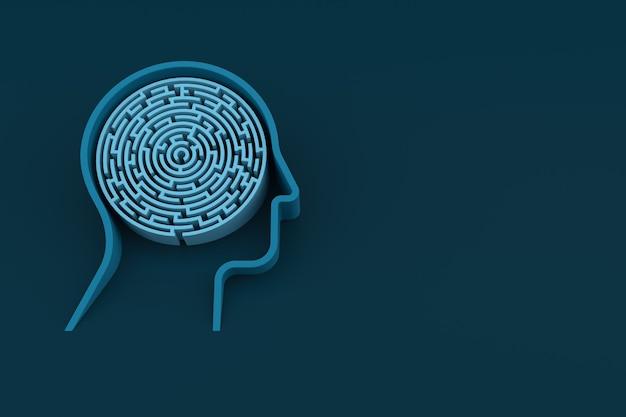 Menselijk hoofd en binnen een doolhof met blauwe achtergrond. 3d-rendering