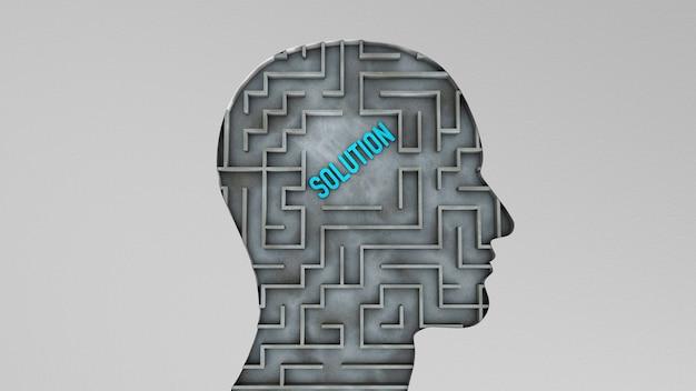 Menselijk hoofd en in een doolhof met een oplossing voor het probleem. het concept van het vinden van de juiste oplossing. 3d render.
