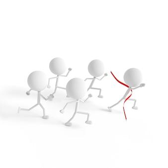 Menselijk model loopt naar de finish.