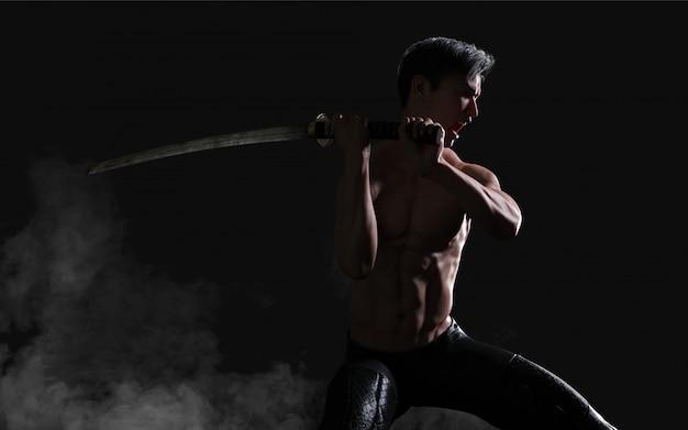 Menselijk portret van een knappe gespierde oude krijger met een zwaard met uitknippad