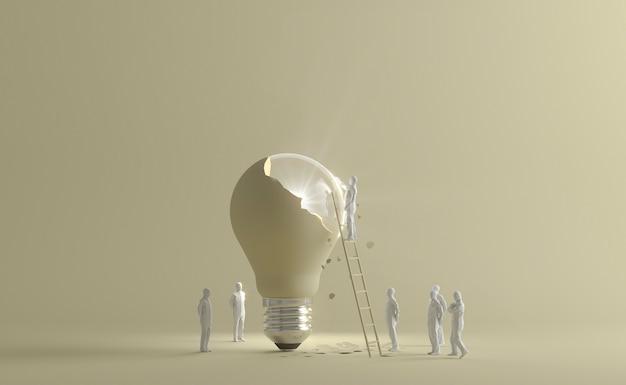 Menselijke beeldjes die ladder gebruiken om gebarsten verlichte gloeilamp te bereiken als een ideeconcept