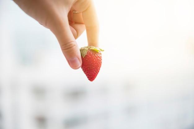 Menselijke hand die rode gehele organische aardbei over vage achtergrond houdt