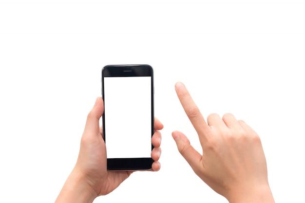 Menselijke hand die slimme telefoon met het lege scherm houden die op witte achtergrond wordt geïsoleerd.
