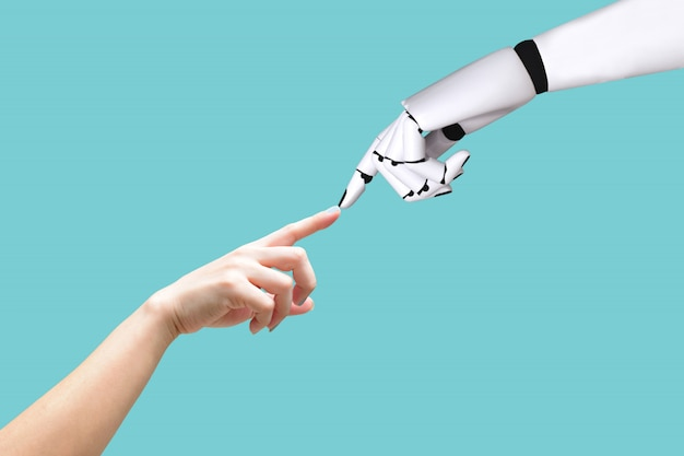 Menselijke hand en robot hand systeemconcept integratie en coördinatie van intellectuele tech