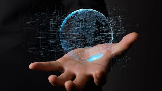 Menselijke hand met earth globe holografische technologie