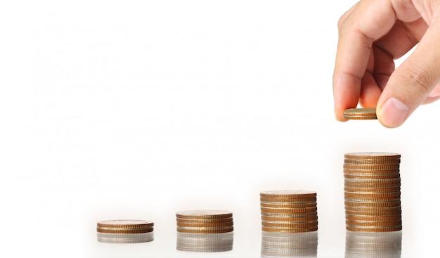 Menselijke hand munt naar geld