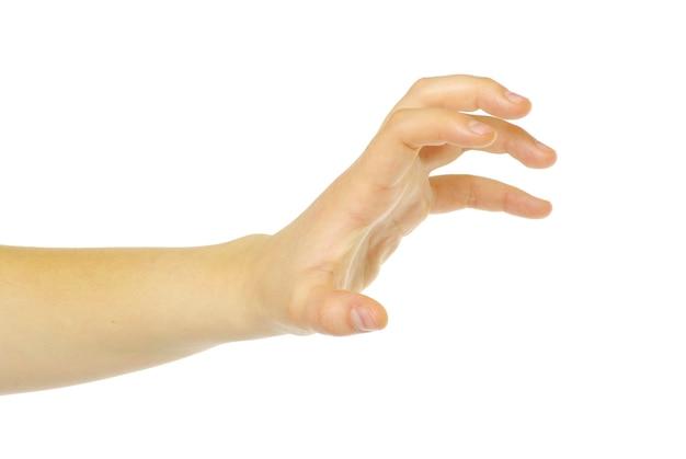 Menselijke hand overnemen op witte witte achtergrond