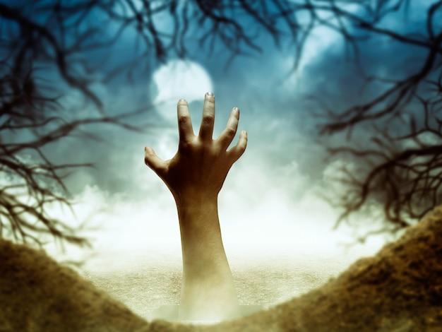 Menselijke hand uit het gat op een griezelige nacht