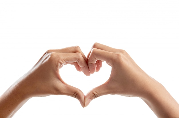 Menselijke handen die hartsymbool maken