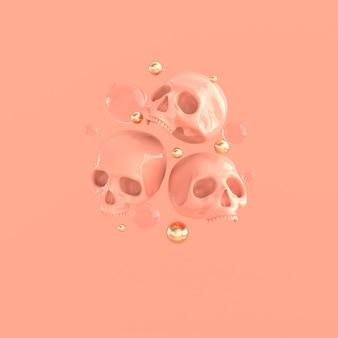 Menselijke schedel 3d-rendering