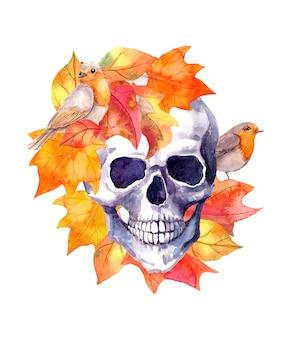 Menselijke schedel in de herfstbladeren met vogels. waterverf