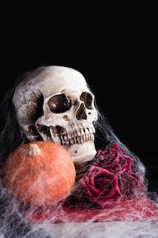 Menselijke schedel met rozen en spiderweb