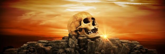 Menselijke schedels bij zonsondergang 3d-rendering