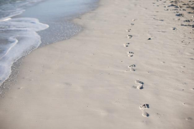 Menselijke voetafdrukken op wit zand van het caribische eiland