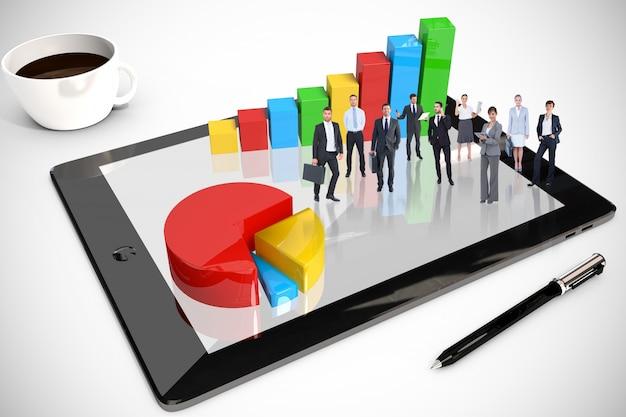 Mensen boven een tablet met een staafdiagram