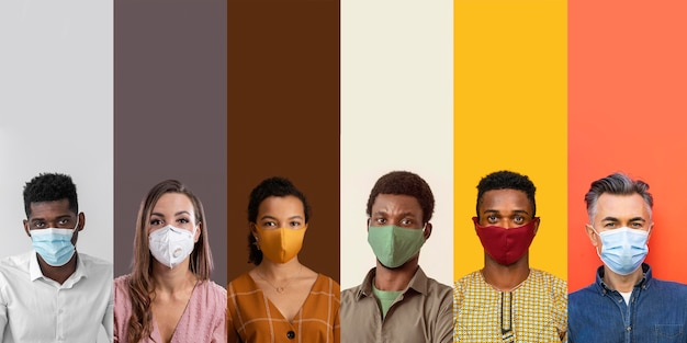 Mensen collageontwerp met masker