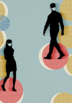 Mensen die gezichtsmaskers dragen en sociale afstand nemen in een openbare achtergrondillustratie
