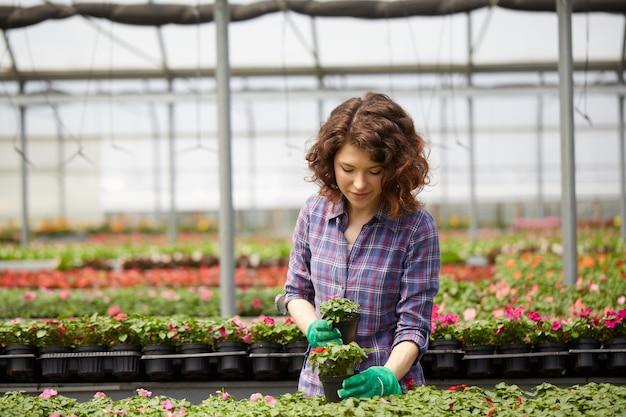 Mensen die in een tuinopslag werken
