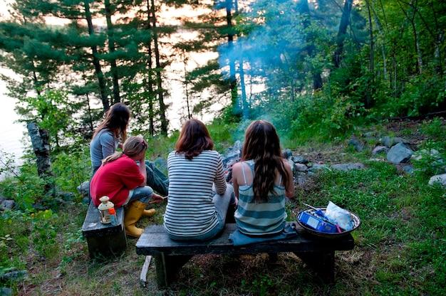 Mensen die op banken dichtbij een kampvuur zitten, meer van het hout, ontario, canada