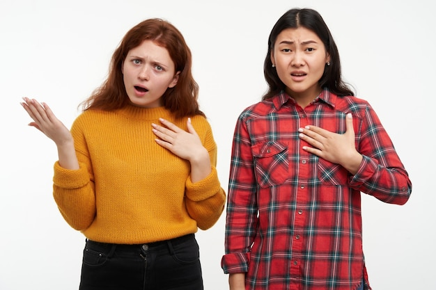 Mensen en levensstijlconcept. ontevreden vrienden die op zichzelf wijzen, ongelukkig vragen. gele trui en geruit overhemd dragen. geïsoleerd over witte muur