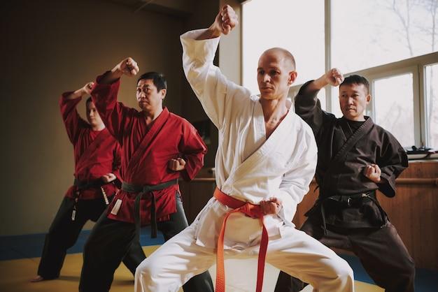 Mensen in rode en zwarte gordels doen vechtstanden.