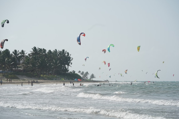 Mensen kiteboarden op een strand in de buurt van de bomen in de dominicaanse republiek