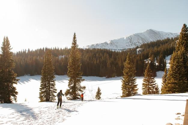 Mensen lopen op een besneeuwde heuvel in de buurt van bomen met een besneeuwde berg en een heldere hemel