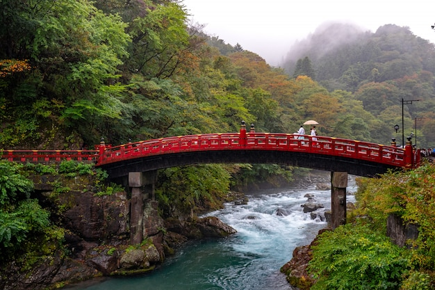 Mensen lopen op japanse brug met prachtig bos en rivier