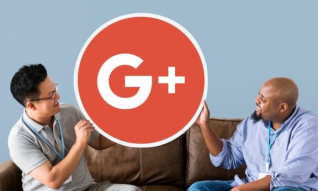 Mensen met een google plus-pictogram