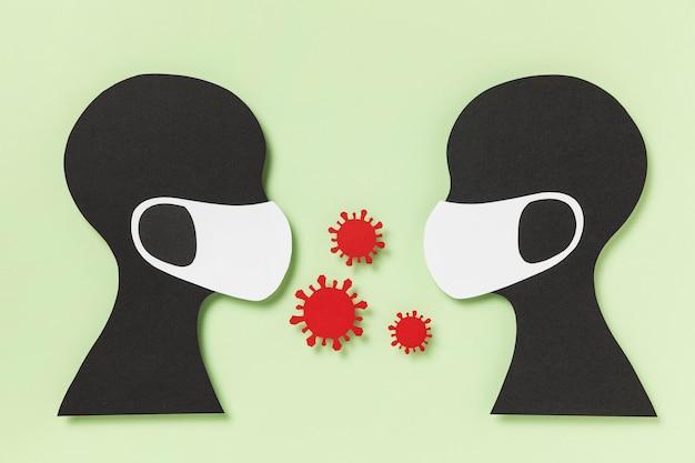Mensen met medische maskers en blootstelling aan het coronavirus
