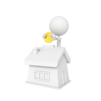 Mensen model en huis vorm spaarvarken met opslaan concept