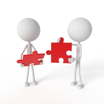 Mensen modelleren en puzzelen met teamwork-concept