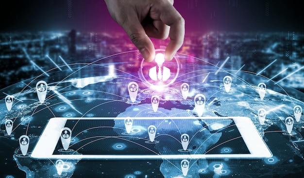 Mensen netwerk, human resources en klantrelatiebeheer crm-concept