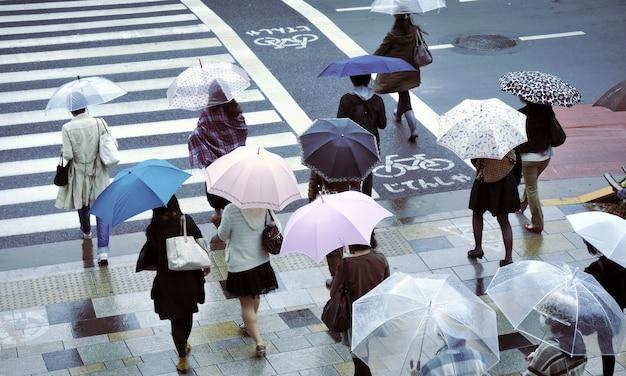 Mensen onder paraplu's op zebrapad in tokio