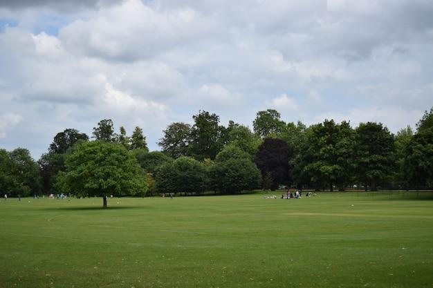 Mensen ontspannen op de met gras begroeide grond in oxford, het vk onder de bewolkte hemel