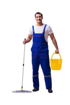Mensen schoonmakende die vloer op wit wordt geïsoleerd