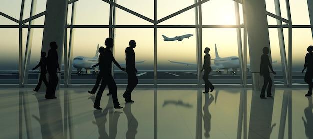 Mensen silhouet in de wachtruimte van de luchthaventerminal wachten op vliegtuig
