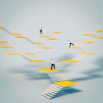 Mensen uit het bedrijfsleven beklimmen abstracte trappen. concept van succes en opkomst in de wereld van werk.