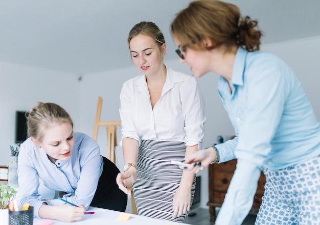 Mensen uit het bedrijfsleven bespreken de businessplannen in office vergadering