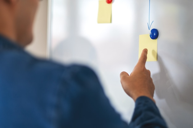 Mensen uit het bedrijfsleven die ideeën op een whiteboard op kantoor bekijken en bespreken