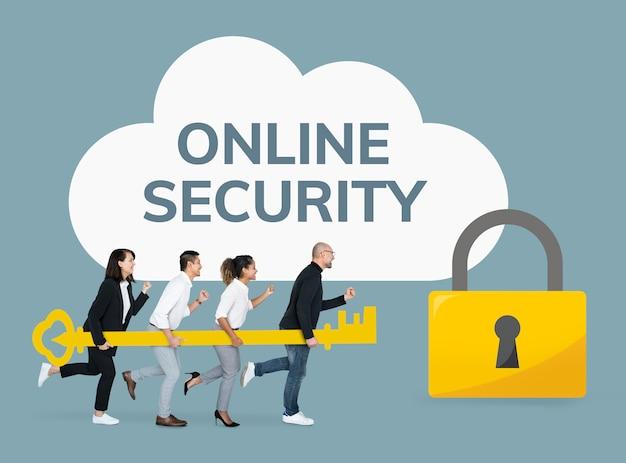 Mensen uit het bedrijfsleven die zich richten op online beveiliging