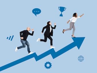 Mensen uit het bedrijfsleven haasten zich naar succes