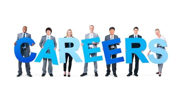 Mensen uit het bedrijfsleven houden de word-carrières