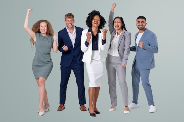 Mensen uit het bedrijfsleven juichen voor teamwork en succescampagne