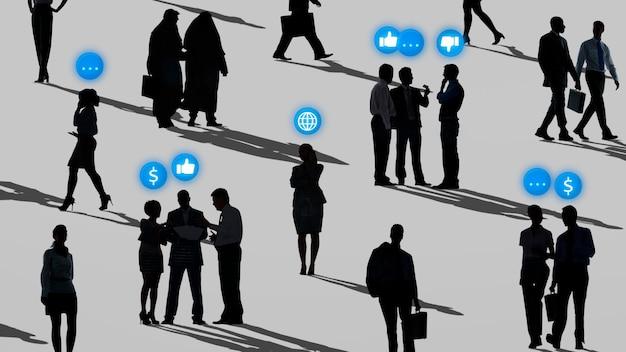 Mensen uit het bedrijfsleven netwerken in silhouet sociale media remix