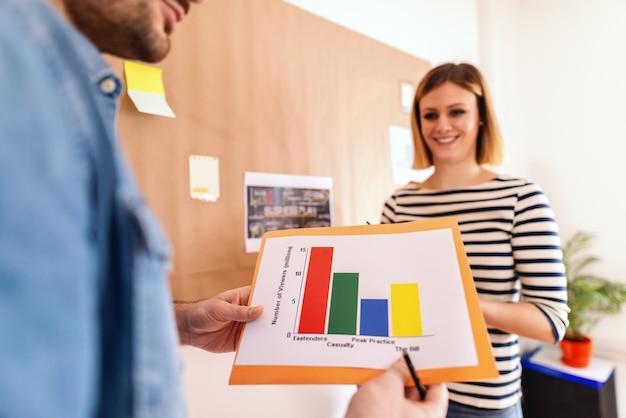 Mensen uit het bedrijfsleven op kantoor werken aan project. selectieve focus op grafiek. op de achtergrond staande lachende blanke vrouw.